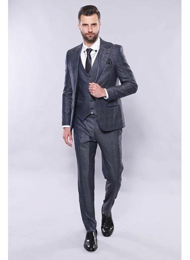 Wessi Erkek Ekose Ceket Yelekli Slim Fit Takım Elbise Lacivert